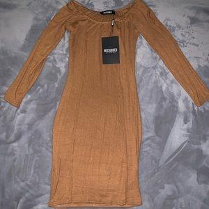 Robbed Jersey Long Sleeve Bardot Bodycon Dress